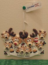 Reindeer Family of 8 Personalized Christmas Tree Ornament Holiday Gift
