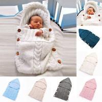 Newborn Baby Kids Infant Cable Knit Blanket Swaddle Wrap Swaddling Sleeping Bag