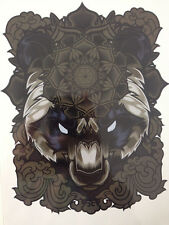 Colorful Temporary Tattoo Sticker Body Art Waterproof Big Brown Bear Panda Angry