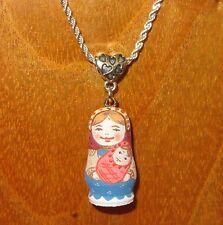 TINY Russian Doll MATT Matryoshka & baby girl HAND PAINTED pendant silver chain