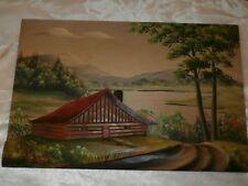 Vtg H Nadeau 3-D Painted Canadian Quebec Cabin Summer Scene