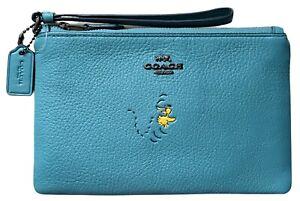 NWOT COACH x PEANUTS Woodstock Blue Leather Wristlet 16110B