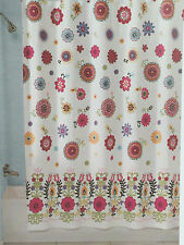 PERI SASHA WHITE AQUA ORANGE PINK FLORAL FABRIC SHOWER CURTAIN - NEW