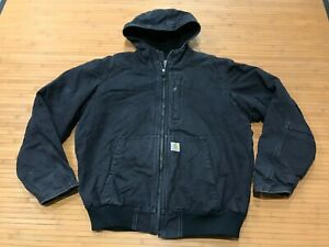 MENS LARGE - Carhartt Duck Full Swing Armstrong Sherpa Quilted Hooded Jacket