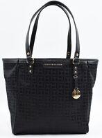 TOMMY HILFIGER Small Fabric Monogram Tote / Shopper Bag, Handbag, Black
