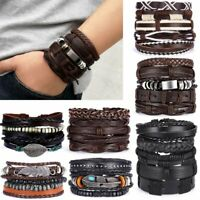 Vintage Mens Handmade Punk Wristband Cuff Bracelet Bangle Leather Wrap Braided