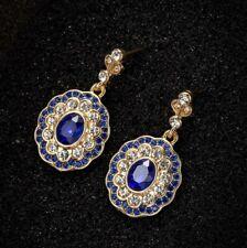 Bright Flower Shape Fire Swiss Blue Topaz Silver Hook Stud Earrings for Women