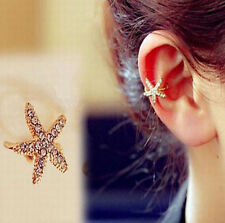 Gold Starfish Ear Cuff Earring Wrap Rhinestone Plated - No piercing - Clip on