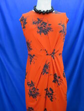 NWOT Phase Eight orange & navy floral print dress pleated detailing UK 16 EU 44