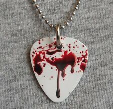 Metal Guitar Pick Necklace - BLOOD SPLATTER - horror gore bloody pendant chain