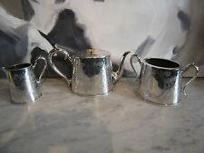 Vintage Semi Antique Silver Plated 3 Piece Tea Set w/ Floral Decoration