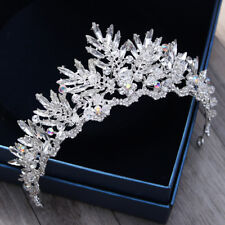 STUNNING SILVER CROWN/TIARA WITH CLEAR & AB CRYSTALS & BEADS, BRIDAL OR RACING