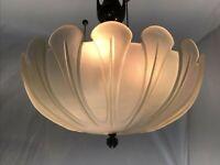 "Vtg Art Deco Frosted Glass LAMP SHADE for Hanging Pendant Semi Flush Ceiling 15"""