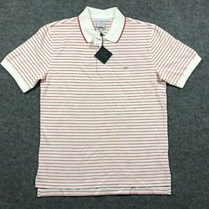 NEW Brooks Brothers Slim Fit Performance Polo Mens Large Red/White Stripe Shirt