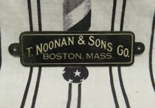 ORIGINAL T. NOONAN BOSTON BARBER SUPPLY BRASS BARBER CHAIR BACK BAR NAME PLATE