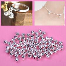 100X Glöckchen Schellen 8mm Kupfer Glocken Silber Kleine Jingle Bells Ornament