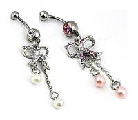 Piercing Nombril, A Chirurgical, Nœud papillon, Cristal, perle rose, fantaisie