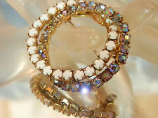Sparkling Vintage 50's Blue AB Rhinestone White Glass Eternal Love Brooch 286F7
