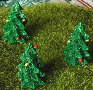 1 Miniature Christmas Tree Dollhouse Resin Hand Painted Green Gold Red Tiny Cute