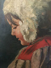 19th  Antique great painting Oil/ Canv/Cardb attr. daughter Kustodiev Russia