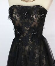 NWT JOVANI $570 Long Size 8 Gown Prom Formal Dress Strapless Lace Black High Low