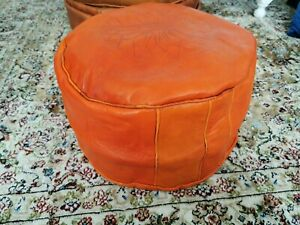 Genuine Leather Pouffe Moroccan Handmade New Orange Poufe Footstool Pouf