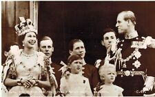 RPPC,U.K.Queen Elizabeth II & Royal Family on Balcony,Coronation Souvenir,1952