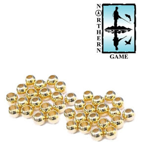 Fly Tying Goldheads, Gold Beads for Fishing Flies - 3 sizes, 20 beads per pack