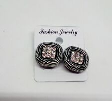 Womens Silver Colour Square Clip on Earrings