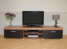 Black TV Stand Modern Home Furniture Doors 2 Metre Cabinet Storage Unit Plasma