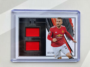 2020-21 Panini Impeccable Soccer Luke Shaw Double Jersey Material /99 Match Worn