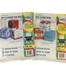 Lot Zumibox Diy Cube Gift Boxes #4052 & #3082 24 Pre-Cut Printable Boxes Blank