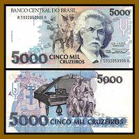 Brazil 5000 Cruzeiros, ND 1993 P-232c About Unc (AU)