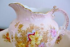 Superb 19th C Antique STAFFORDSHIRE SEMI PORCELAIN Bowl & Pitcher/Jug ENGLAND