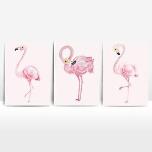 A4 Flamingo Kids Room Decor Prints Set of 3 Playroom Girls Nursery