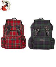 Banned Alternative Kenneth Tartan Backpack Red Green Rucksack Bag