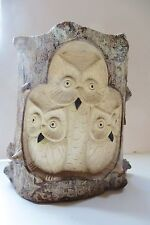 OWL FAMILY, WOOD OWLS Figurine IN A TREE STUMP ,HAND CARVED