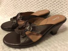 NEW Clarks Brown Leather Heeled Slide Open Sandals 89038 Women's 8.5 M  8 1/2
