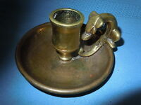ANTIQUE BRASS CANDLE HOLDER DOG FOX SERPENT ? VINTAGE UNIQUE CANDLESTICK