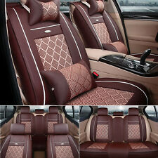 US Coffee Car Auto PU Leather+Mesh Seat Cover Front+Rear+Pillow For Honda Toyota