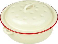Nimbus Enamel Round Roaster 20cm  Cream Red Trim - Camping /Home [0098]