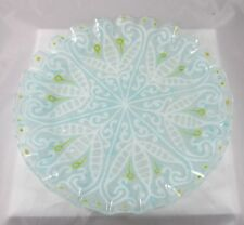 23f35fe90fc8 Vintage MCM Modern Signed Higgins Art Glass Ruffled Edge Plate White Aqua  Blue