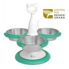 Catswall Design Multi-Cat Raised / Elevated 3 Bowl Cat Feeder in Aquamarine Mint