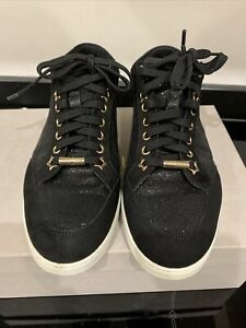 Womens Jimmy Choo Black Glitter Trainers Size 38