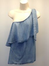 CLOTH & STONE Anthropologie~ NEW Chambray Denim One Shoulder Top Shirt $124 M