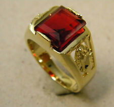 Men's Square Red CZ Stone Yellow Gold Plated Ring Mother Mary Size 12 New