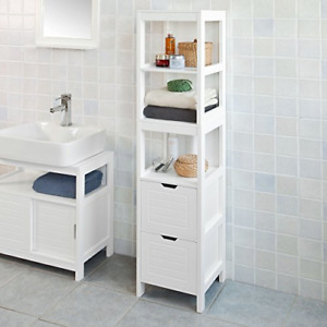Haotian White Floor Standing Tall Bathroom Storage Cabinet with Shelves and Bath