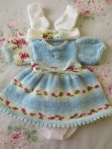 "Hand Knitted 14/15"" Reborn Baby Doll Set."