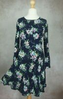 Emily and Fin Navy Blue Floral Design Dress Size UK 10 EU 38 Long Sleeve Lined