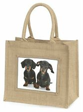 Two Cute Dachshund Dogs Large Natural Jute Shopping Bag Christmas Gif, AD-DU2BLN